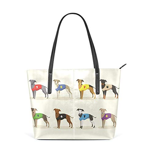 XGBags Custom Damen Pu Leder Umhängetasche Handtasche Racing Whippet Dog Purse PU Leather Shoulder Tote Bag Purse for Womens Girls Ladies -