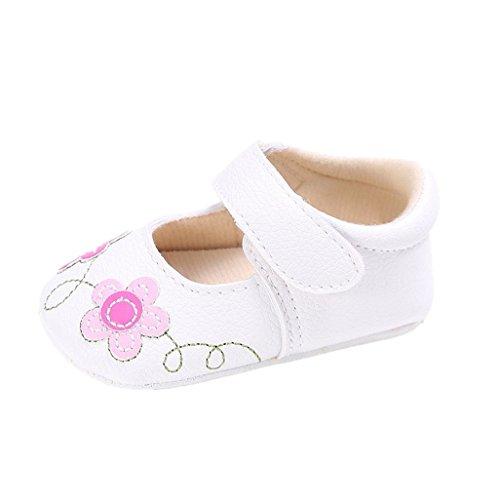 Auxma Baby-Mädchen-weiche alleinige lederne Krippe-Schuhe,Blume Muster Baby Schuhe (13cm(12-18M), Weiß) Weiß
