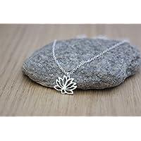 Collier argent massif pendentif fleur de lotus