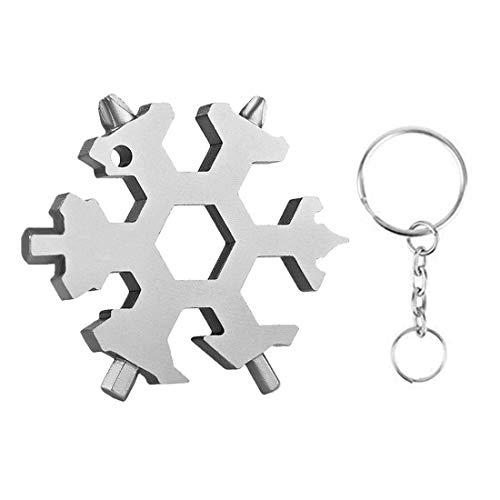 Vanbing 18-in-1 Schneeflocken Multitool Werkzeug Edelstahl Werkzeug Multifunktionswerkzeug EDC Werkzeug Tragbares Schlüsselanhänger/Flaschenöffner/Schraubendreher/Maulschlüssel (Schlüsselanhänger Werkzeug Flaschenöffner)