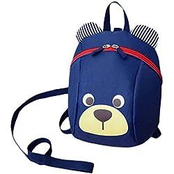 Los niños encantadores del oso lindo bolsa de Niños Anti-Perdida Kindergarten Mochila Niño doble bolsa de hombro Mochila Republe
