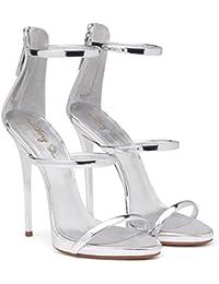 XIE Zapatos de mujer Cuero Tobillo Correas Roma Vestir Tacón de aguja Fiest Club Sandalias Tamaño 35 a 44, EU41