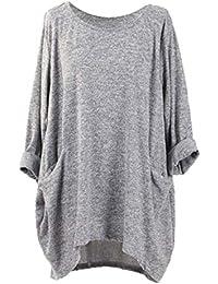 NOBRAND - Camiseta de manga larga para mujer, cuello redondo