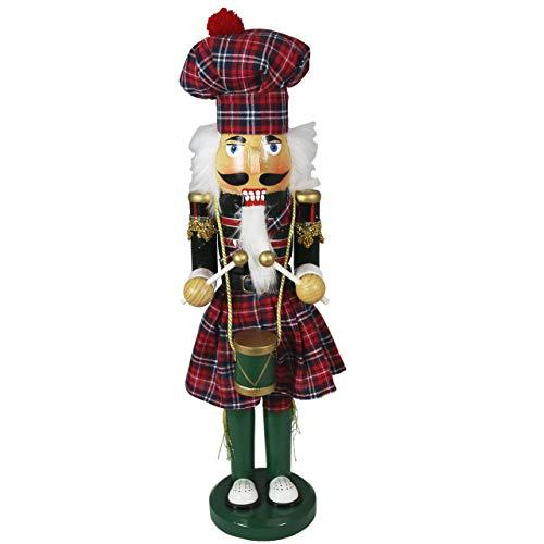 OBC-Kunsthandwerk Nussknacker Erzgebirge Stil Schottischer Trommler Mehrfarbig / 38 cm/Weihnachtlicher Nussknacker/handbemalte Deko Figur aus Holz/weihnachtlich dekorieren -