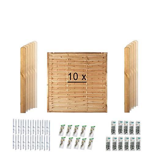 """Komplett-Set Sichtschutz-Zaun """"Hamburg"""" bestehend aus 10 Lamellen-Zaun Feldern //ca. 19 lfd. Meter // aus Kiefer/Fichte Holz // + 11 Holz-Pfosten im Maß 9 x 9 x 190 cm mit Rundkopf + Montagematerial"""