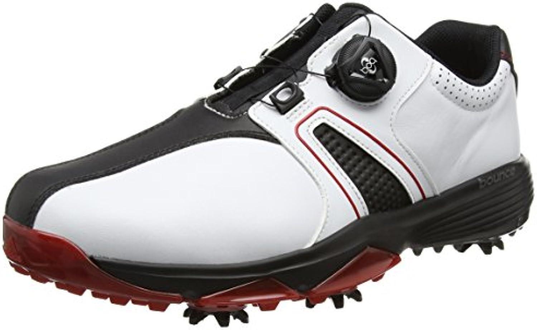 adidas 360 Traxion Boa WD, Zapatos de Golf para Hombre, Blanco/Negro / Rojo, 44 EU