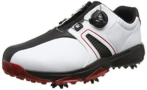 adidas Herren 360 Traxion Boa Golfschuhe, Weiß (White/core Black/Scarlet), 44 2/3 EU