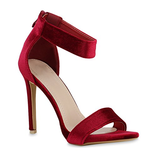 Elegante Damen Sandaletten High Heels Braut Party Animal Print Plateau Schleifen Abschlussball Schuhe 129364 Rot Samt 39   Flandell Elegante High Heel