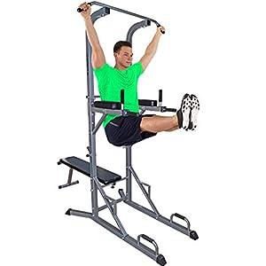 ScSPORTS Gymtower® Kraftturm mit Hantelbank, Dip-Station, Klimmzugstange/Kraftstation klappbar – perfekt für´s Home-Gym