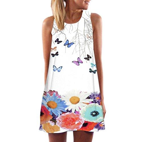 Stretch Denim Tank Dress (TUDUZ Damen Sommer Vintage Boho Ärmelloses Sommerstrand Gedruckt Kurzes Minikleid Blumenkleid T-Shirt Tops Kleider-Faschingskostüme (Weiß -L, S))