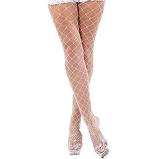 krautwear Damen Strumpfhose Offen Netzstrümpfe Halterlose Netz Straps Strümpfe Elegant Sexy Netzstrumpfhose Hoher Bund Schwarz Rot Weiss Neon Pink Grün Kostüm Fasching Karneval 80er (2145-weiss)