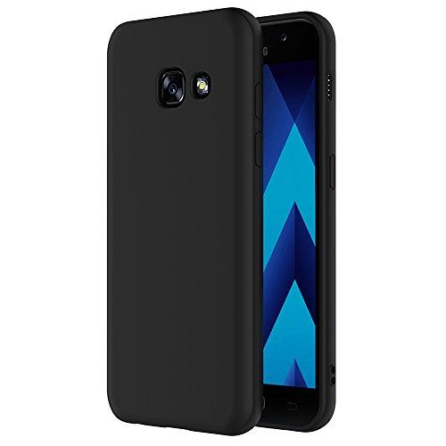 AICEK Funda Compatible Samsung Galaxy A5 2017, Negro Silicona Fundas para Galaxy A5 2017 Carcasa A520 (5,2 Pulgadas) Negro Silicona Funda Case