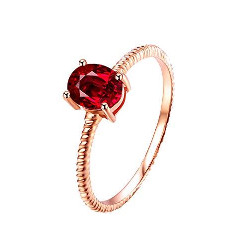 AnazoZ Echtschmuck Damen Ring 18K Rosegold Solitärring 0.4 Karat Rubin Schmal Hochzeit Ring Verlobungsring für Frauen Ring Damen Gold 750