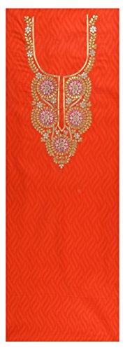 Sanskriti Sarees Women's Jacquard Unstitched Kurta (Orange)