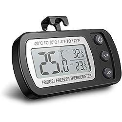 Thermomètre numérique pour réfrigérateur, thermomètre étanche pour congélateur avec crochet, affichage ACL facile à lire, fonction d'enregistrement Max/Min, idéal pour la maison, restaurants et cafés