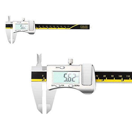 GOSCIEN Digitaler Messschieber aus Edelstahl bis 150mm/6inch Schieblehre LCD Display Hochpräzise Noniusschieber Mikrometer Abständen und Durchmesser