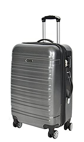 APOLLO Suitcase Luggage Travel Bags Hard Shell Expandable 4 Wheeler Number Lock Trolley GREY (Medium 67x41x27 cm /