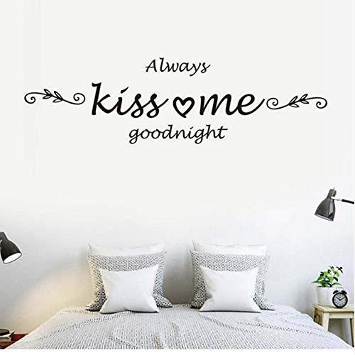 PAWANG Toujours m'embrasser Goodnight Quote Sticker Mural Amour Stickers Art Home Decor Chambre Vinyle Mur Enfants Chambres Décor Peintures Murales 86 * 43CM