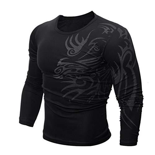 Herren Slim Fit Langarmshirt Longsleeve Shirt Sweatshirt Rundhals Drucken Motiv Basic Fitness Sport Gym Training Täglichen Crewneck Modern Streetwear Blau/Rot/Schwarz/Rot/Grau(Schwarz,EU-50/CN-XXL)