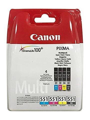 Cartouches d'encre pour Imprimante Canon Pixma iP7250/8750, iX6850, MG 5450/5550/5650/6350/6450/6650/7150/7550, MX725/925Livré avec le stylo à bille Multi (4er)