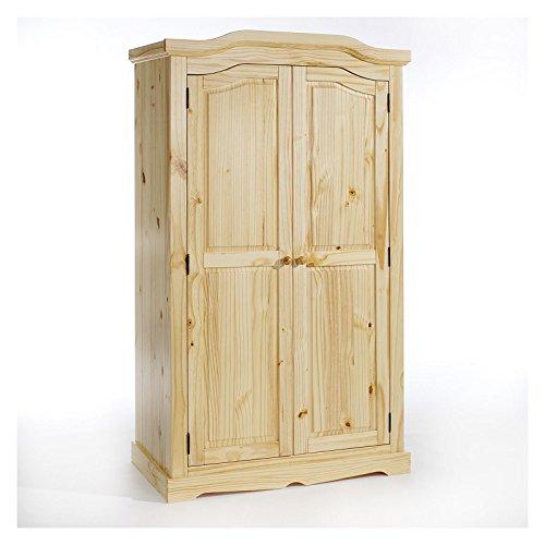 Natürliche Holz-schrank (IDIMEX Garderobenschrank Dielenschrank Kleiderschrank Tulum, Kiefer, 2-türig 2-Türen, Natur)