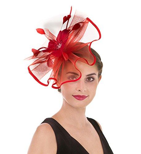 Fascinators Hut Blume Mesh Bänder Federn auf einem Stirnband und einem geteilten Clip Cocktail Tea Party Headwear für Mädchen und Frauen (Großen Mesh Rot)