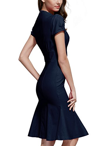 Miusol Damen Sommerkleid V-Ausschnitt Kurzarm 1950er Retro Fishtail?Buero Cocktail Kleid Blau EU 44/XL -