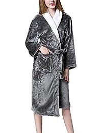 Bata Térmica Super Suave Manga Larga Pijamas Vestidos para Mujer y Hombre Robe Albornoz
