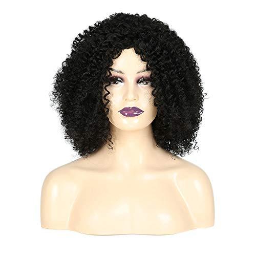 KERVINFENDRIYUN YY4 Kunsthaar Wasser Welle Kurze Lockige Schwarze Afrikanische Frauen Explosion Kopf Voller Kopf Für Täglichen Cosplay Kleid (Color : Black)