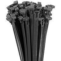 50 Kabelbinder 7,6 x 200 mm LÖSBAR schwarz Profi UV beständig Kabel Strapse