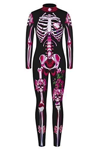 URVIP Jungen Mädchen Halloween Unheimlich Gespenstisc Skelett Jumpsuit Ganzkörperanzug Karneval Verkleidungsparty Cosplay Kostüm Overalls BJQ-010 L