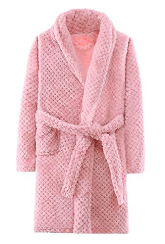 ABClothing Bata Rosa Suave para niñas Bata de vellón Bata 7-8 años Rosa