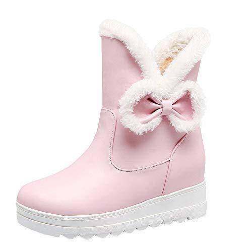 MYMYG Damen Schneestiefel Halbschaft Stiefeletten Frauen Winter Bow Flat Keep Warm Schuh Rutschfeste Kurze Schlauch Boots Warme Plüsch Gefüttert