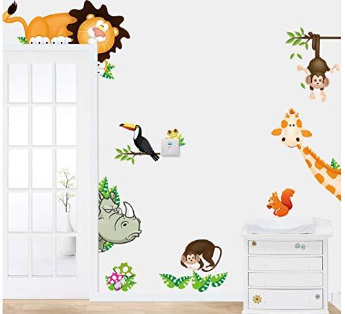 hfwh Wandaufkleber Süße Tier Leben In Ihrem Haus DIY Home Decor Dschungel Wald Thema Wallpaper Geschenke Für Kinder Zimmer Dekor 30x90cm