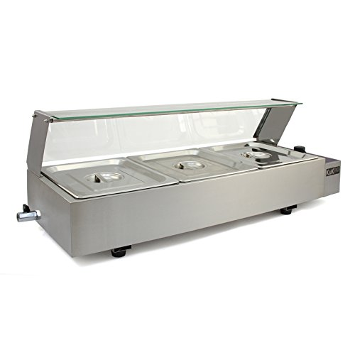410PXzMRDeL. SS500  - KuKoo Wet Well Catering Bain Marie Food Warmer Display / 3, 4 or 5 Pan / 1/2 GN, 1.5kW, Stainless Steel (3 Pan)