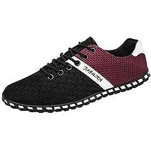 Bestow Zapatos de Guisantes Deportivos Ocasionales de los Hombres Moda Hombres Malla Informal Zapatillas cómodas y