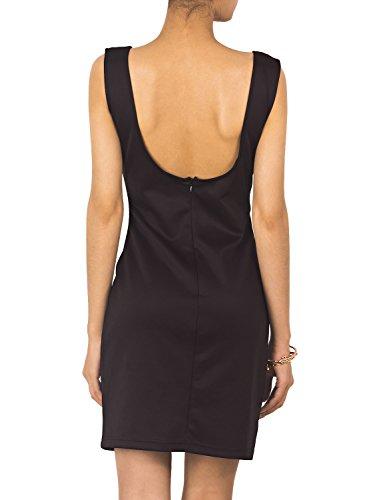 iB-iP Femme Plongée Simple Crayon Slim Backless De Cou V Mini Robe Moulante Noir