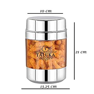 Taluka Round Stainless Steel Unbreakable Fiber Designer Jar Container Canister - 1 Pcs, 3000 ML