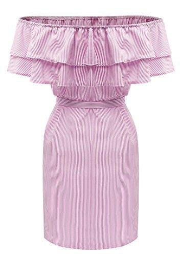Kleider Damen Elegand Bandeau mit Volant Streifen Schulterfrei Rückenfrei Kurzarm Knielang Minikleid Sommerkleid Festlich Abendkleider Abschlussball Brautkleider 2017 von YOGLY Pink
