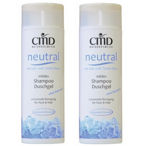 CMD neutre Shampoing/Gel Douche avec du sel de la mer Morte Lot de 2 (2 x 200 ml) (Bio, vegan, cosmétique naturel)