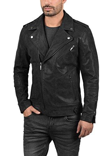 SOLID Mash Herren Lederjacke Echtleder Bikerjacke mit zahlreichen Metall-Details aus 100% Leder, Größe:L, Farbe:Black (9000) - 2