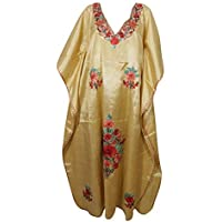 Mogul Interior Womens Kimono Kaftan Floral Embroidered Beige Maxi Dress One Size