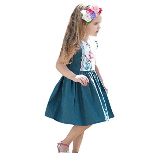 Kleinkind Kinder Baby Prinzessin Mädchen Sommer Reißverschluss Spitzenkleid Rüschen Floral Rock