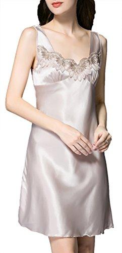 FLYCHEN Femme Robe de Nuit Elégant Col V Chemise de Nuit Satin Confortable Lingerie Dentelle Beige