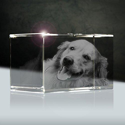 3D Laser Foto Glas | Quader 56mm | 1 Person oder Tier zB als Geschenk für Hund & Katze