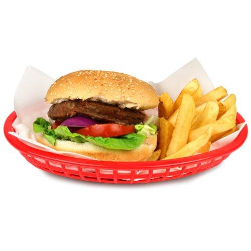 Tablecraft Classic Oval Lebensmittel Korb rot 24x 15x 5cm | Kunststoff Korb, Abendessen, Lebensmittel Korb, Abendessen, Präsentation | Chip Korb, Korb, Pommes Korb, Burger, Hot Dog Korb (Red Diner Dog)