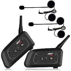 Ejeas V6Pro 2xAuriculares Intercomunicador Moto Bluetooth para Motocicletas, Gama Comunicación Intercom de 1200m, intercomunicador Casco Moto, Impermeabilidad, Intercomunicacion Entre 6 Motociclistas