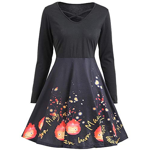 (OverDose Damen Herbst Karneval Stil Frauen Langarm Kürbisse Ghost Horrible Print Halloween Abend Prom Schlank Elegant Kostüm Swing Kleid)