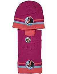 vaiana disney-ensemble bonnet gants écharpe rose foncé-fille de9708656e0