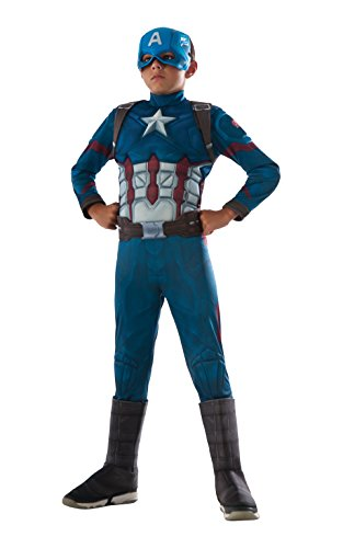 Captain America Deluxe - Civil War Captain America - Kinder Kostüm - Klein - (Brust Muskel Kinder Kostüme)